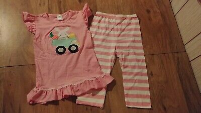 New-Girls Size 7 8 Bunny Ruffle Top/Leggings Outfit