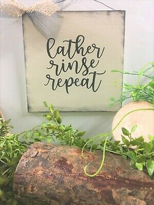 Funny Farmhouse Bathroom Sign Lather Rinse Repeat Outhouse Bath Decorations 6 08 Picclick Uk