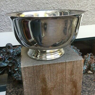 Vintage Wm. Rogers/ Paul Revere reproduction footed silver bowl 7 in