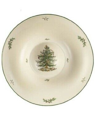 Spode Christmas Tree Chip 'n' Dip Large Bowl Plate Dipping Food & Snack Dish