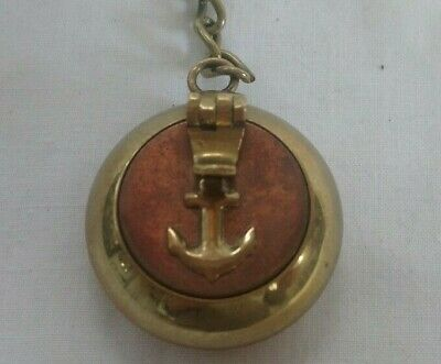 Vintage Small Brass Travelling Ashtray with Belt Hook - Anchor on Lid
