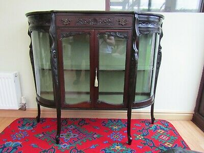 Unusual Antique Edwardian Curved Glass China Display Cabinet