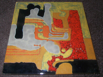 Stunning Large Heavy Painted Ceramic Tile For Hanging -Colourful Abstract Design