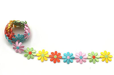 "Unotrim 1.25"" Pink/Lt Green/Orange/Yellow/Lt Blue Daisy Flower Embroidered Trim"