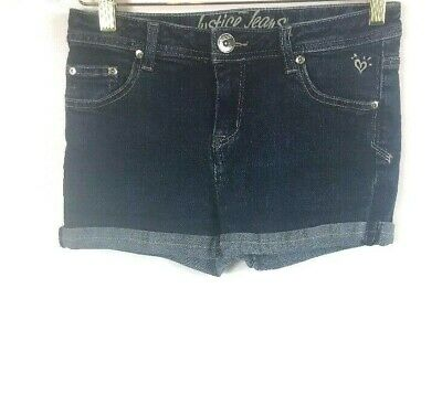 Justice Jeans Blue Size 16R Girls Denim Cotton Blend Cuffed Casual Short Shorts