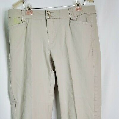 Lee Perfect Fit Womens Casual Pants Size 16 Beige Mid-Rise Stretch Flat Front
