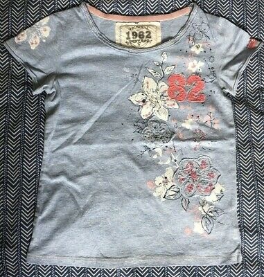 NEXT Girl's Pretty Blue Floral Print Sequin Detail T Shirt/Top Age 6 - 7 years