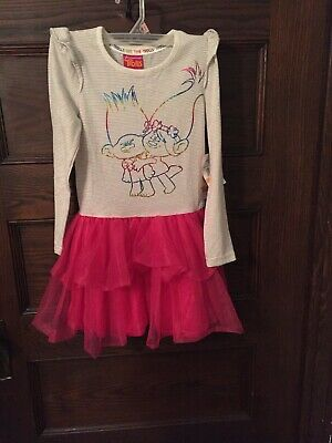 Dreamworks Trolls Dress Costume Girls Size 6X Long Sleeve Branch And Poppy EUC