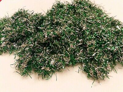 "Vtg Christmas Tree Tinsel Garland shiny Green & Silver 2 strands 26 ft 8"" total"