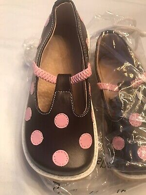 Puddle Jumpers Girls Size 10 Euro 27 Brown / Pink Polka Dots New