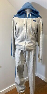 Vtg 80s NIKE Blue Tag Women's Sweat Tracksuit. Heather Gray Rayon Two Tone Large