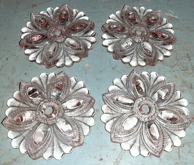 """Large 3.5"""" Light Pink Pressed Glass Floral Curtain Tie Backs"""
