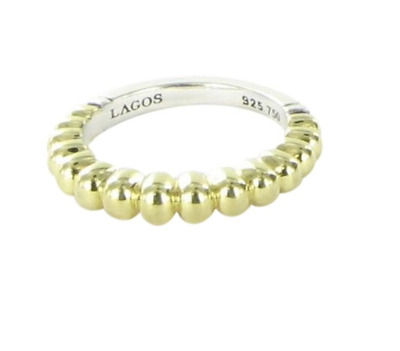 Lagos Caviar 18k Gold Sterling Silver Stacking Ring Size 7