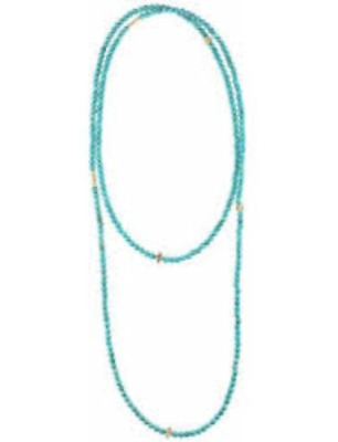 """Lagos Caviar Turquoise Icon 18K Gold Beaded Necklace 34"""""""