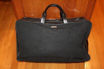 Vintage GUCCI Black Canvas Leather Travel Weekender Duffle Bag Rare