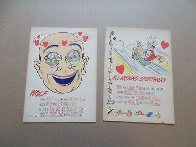 LOT of 5 vinegar VALENTINE'S DAY insult Penny Dreadful cards BOWLING quiz WOLF
