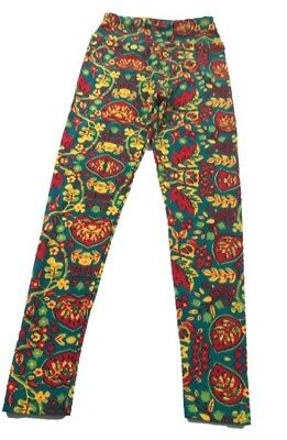 Lularoe Tween Leggings Fall Leaves Blue red Yellow