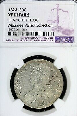 1824 - NGC VF DETAILS PLANCHET FLAW CAPPED BUST Half Dollar! #B18037
