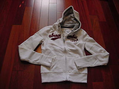 GIRL'S ABERCROMBIE & FITCH CREAM HOODIE SWEATSHIRT HOODED L LARGE Sz 12/14 NEW