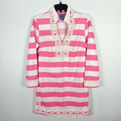 Sail to Sable Tunic Dress Small Pink White Stripe Crochet Lace Long Sleeve Shift