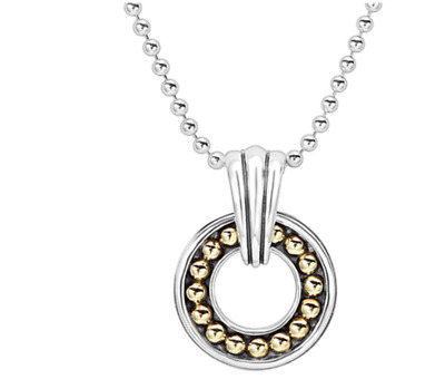 """Lagos Enso Sterling Silver 18k Gold Necklace 18"""" New $395.00"""