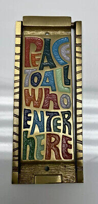 1969 Vintage TERRA SANCTA GUILD Brass Door Knocker - PEACE To All Who Enter Here