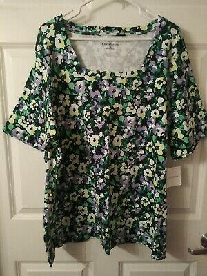 Croft & Barrow Women's Plus Size 3X Classic Floral T-Shirt Tunic Top NWT