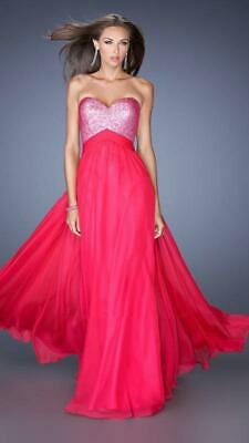 LA FEMME Ladies Formal Prom Dress 19641 Size 2 New With Tags $368 Hot Fuchsia
