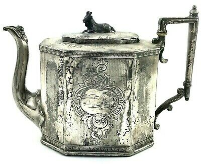 Teapot Victorian with Goat Finial 1917 REED and BARTON Antique Silver