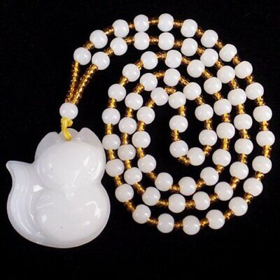F82480 Carved White Jade Fox Pendant Hand-knitted Necklace 17.5 inch