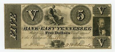 1854 $5 The Bank of East Tennessee - Knoxville TENNESSEE Note (Jonesboro Branch)