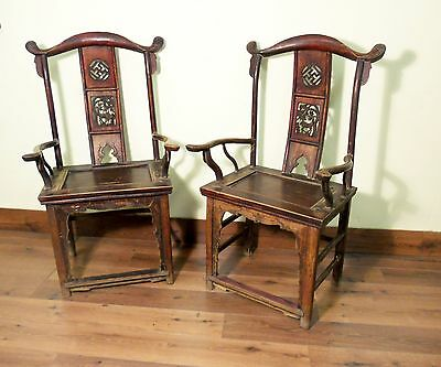 Antique Chinese High Back Arm Chairs (5517) (Pair), Circa 1800-1849