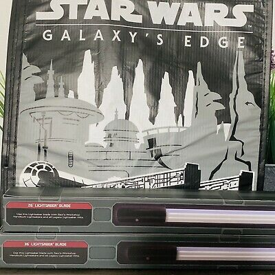 """Star Wars Galaxy's Edge Lightsaber Blades 36"""" & 26"""" Plus Reusable Tote."""