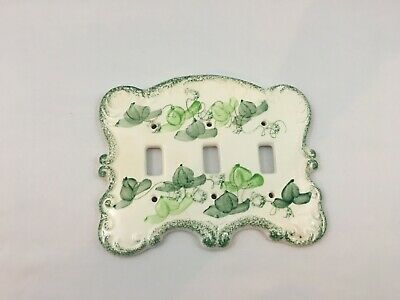 White Porcelain Triple Toggle Electric Light Switch Ceramic Wall Plate Cover VGC