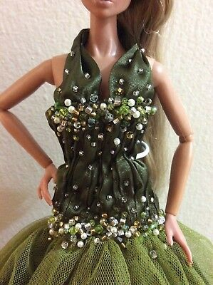 Handmade Gathered Beaded Bodice Olive Green Tulle Dress for Barbie Sized Dolls