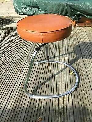Vintage Industrial Height Adjustable  French Padded Swivel Stool Chair Seat