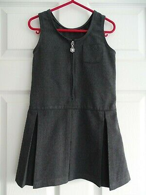 Girl's Charcoal Grey Embroidered School Pinafore from Matalan Age 4 Years