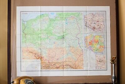 Vintage Original Folding Paper Map of Poland 1973 Large Old Geography School Map