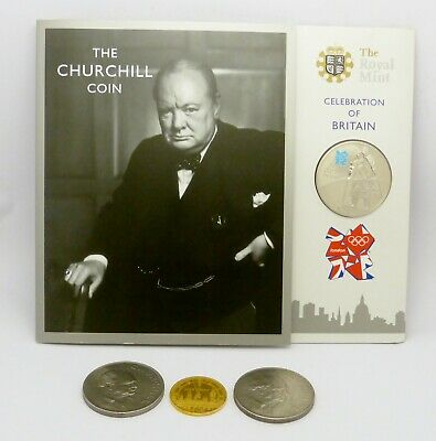 Good Joblot 5 Winston Churchill Commemorative Coins 3 Crowns 1 £5 1 Finest Hour