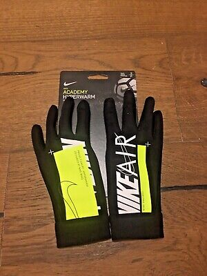 Nike Air Academy Hyperwarm Field Player Football Gloves Black Volt, Junior, Sm