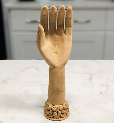 """Hand Carved Wood 10"""" Tall X 3.5"""" Wide Las Damas Hand decorative"""