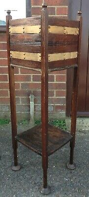 Victorian antique Arts & Crafts solid oak gilt metal plant stand jardiniere
