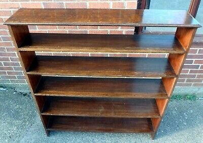 Edwardian antique Arts & Crafts solid oak mahogany large open library bookcase