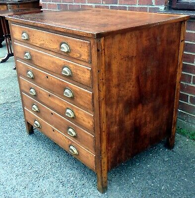 Art Deco antique industrial oak 6 drawer office compact plan chest of drawers