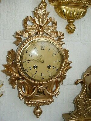Swedish Gustavian gilded carved linden wood Westerstrand wall clock