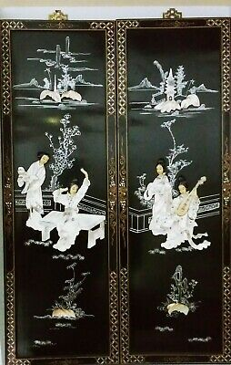 Vintage Chinese Black Lacquered Mother of Pearl 2 PANEL WALL ART, Geisha Women