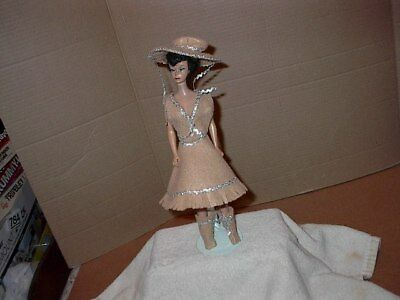 Home Made Barbie 5 Piece Western Set  Made of Tan Felt With Silver Rickrack  New