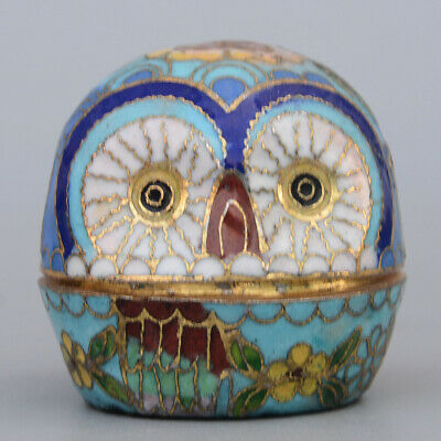 Collect China Old Cloisonne Hand-Carved Lovely Owl Delicate Noble Storage Box