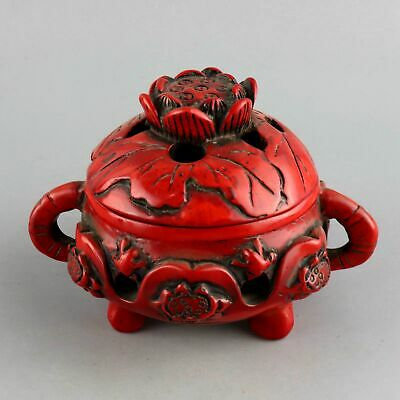 Collect Antique Old Red Coral Hand Carve Delicate Noble Hollow Out Lotus Censer