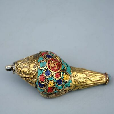 Collectable China Old Bronze Inlay Turquoise Hand-Carve Delicate Seashell Statue